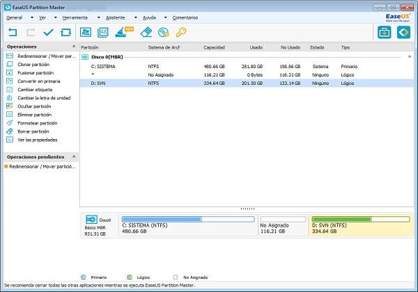 EaseUS Partition Master for resizing partition size