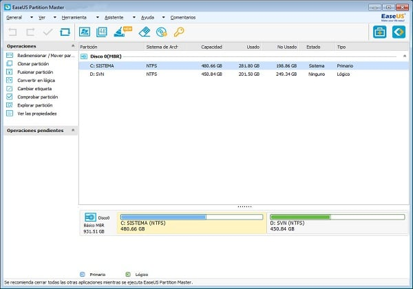 Main window of EaseUS Partition Manager software