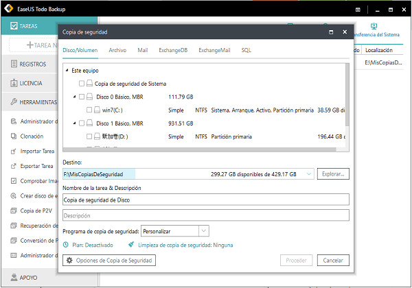 Realizar copia de seguridad de Windows Server 2016 con EaseUS Todo Backup Advanced Server.