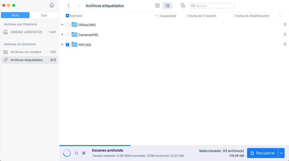 Previsualizar y recuperar archivos borrados de Word bajo Mac con EaseUS Data Recovery Wizard for Mac.