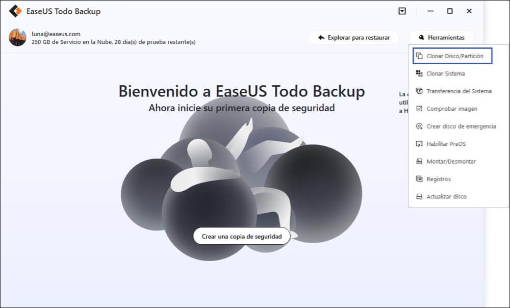 Iniciar EaseUS Todo Backup a migrar Windows 10 a SSD.