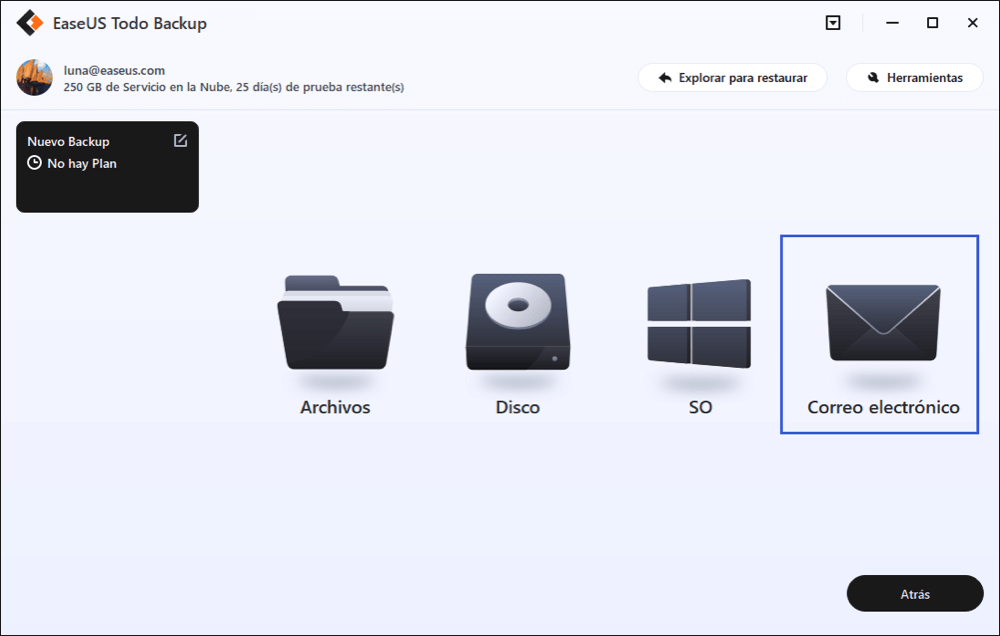Realziar copia de seguridad de Outlook 2016 con EaseUS Todo Backup.